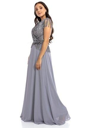 Abiye Sarayı Kadın Gri Büyük Beden Üstü Payet Altı Şifon Püskül Detaylı Abiye Elbise 3