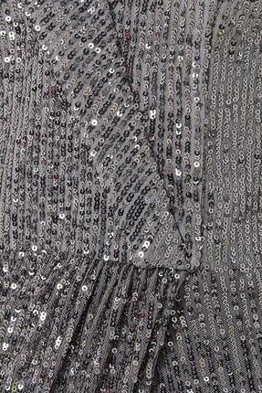 Abiye Sarayı Gümüş Payet Kolları Püskül Detaylı Yırtmaçlı Kayık Yaka Balık Abiye 1