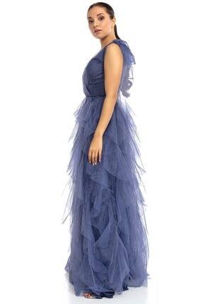 Abiye Sarayı Kadın Mavi Kruvaze Yaka Omuz Detaylı Tül Abiye 4