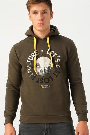 Picture of Erkek Haki Kapüşonlu Sweatshirt