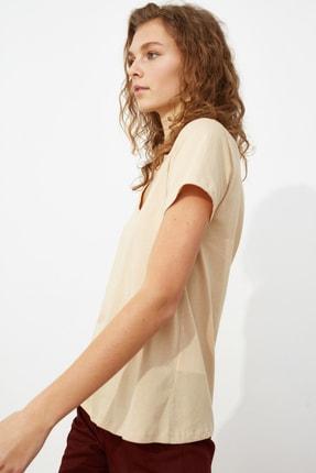 TRENDYOLMİLLA Haki-Bej %100 Pamuk Süprem V Yaka 2'li Paket Örme T-Shirt TWOSS20TS0142 3