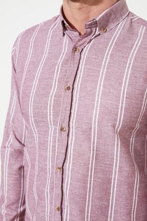 TRENDYOL MAN Bordo Erkek Slim Fit Düğmeli Yaka İnce Çizgili Gömlek TMNSS20GO0092 3