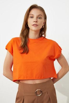 TRENDYOLMİLLA Turuncu Crop Örme T-Shirt TWOSS20TS1257 1