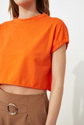TRENDYOLMİLLA Turuncu Crop Örme T-Shirt TWOSS20TS1257 3