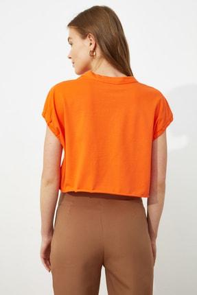 TRENDYOLMİLLA Turuncu Crop Örme T-Shirt TWOSS20TS1257 4