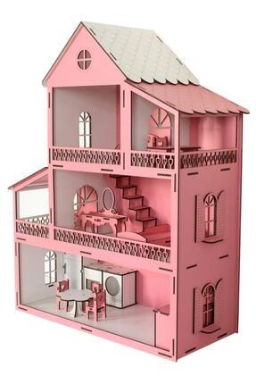 Okutan Hobi Pembe Barbie Ev Eşyalı Ahşap Oyun Evi 1