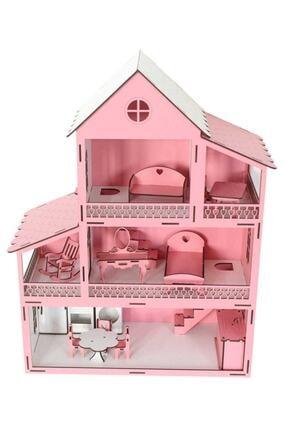 Okutan Hobi Pembe Barbie Ev Eşyalı Ahşap Oyun Evi 2