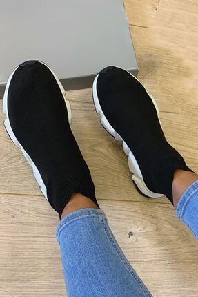 NOVELYA Erkek Taban Beyaz Çoraplı Yüksek Taban Sneaker Ayakkabı 0
