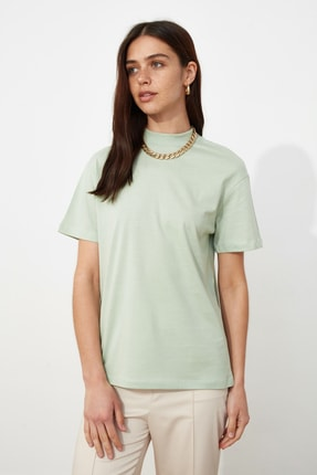 TRENDYOLMİLLA Mint Basic Dik Yaka Örme  T-Shirt TWOAW20TS0096 0