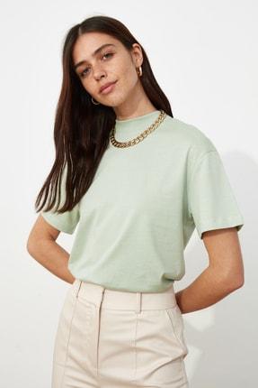 TRENDYOLMİLLA Mint Basic Dik Yaka Örme  T-Shirt TWOAW20TS0096 1