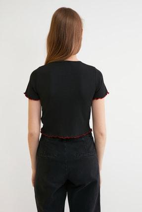 TRENDYOLMİLLA Siyah Nakışlı Fitilli Örme Bluz TWOSS21BZ0770 4