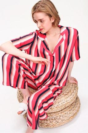 Trend Alaçatı Stili Kadın Mercan Yakalı Dokuma Pijama Takım ALC-X5895 2