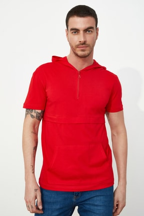 TRENDYOL MAN Kırmızı Erkek Regular Fit T-Shirt TMNSS20TS1360 1