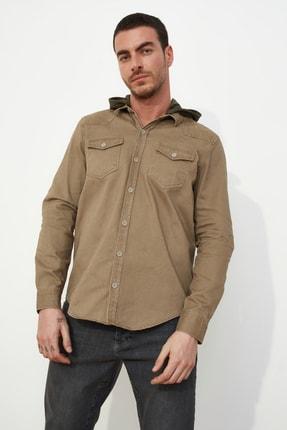 تصویر از Bej Erkek Denim Kapüşonlu Ceket Gömlek TMNSS21GO0233