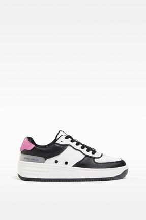 Bershka Kadın Beyaz Kontrast Kabartmalı Spor Ayakkabı 0