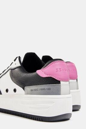 Bershka Kadın Beyaz Kontrast Kabartmalı Spor Ayakkabı 2
