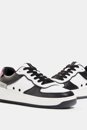 Bershka Kadın Beyaz Kontrast Kabartmalı Spor Ayakkabı 4