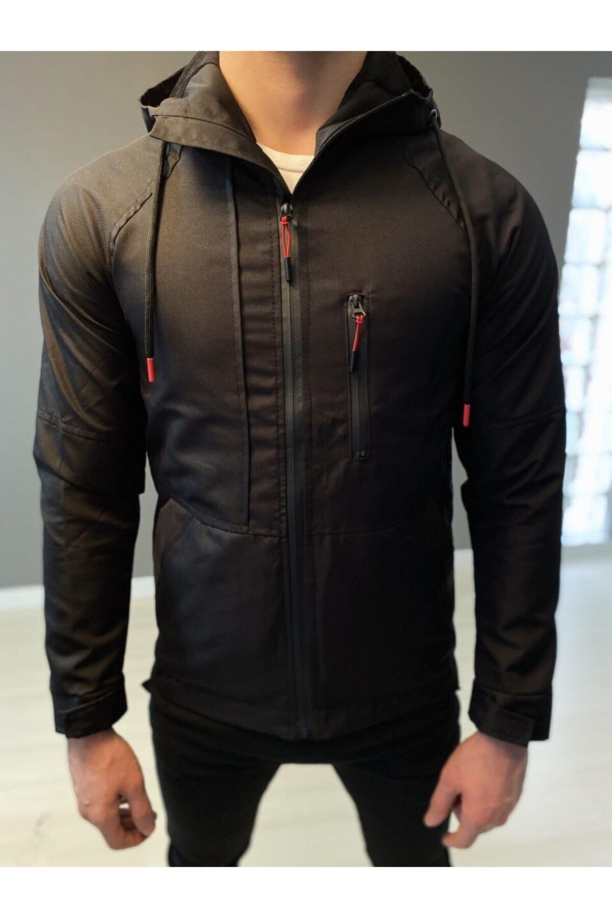 Erkek Siyah Mevsimlik Su Geçirmez Softshell Ceket