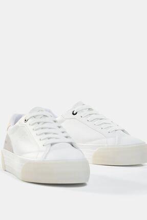 Bershka Kadın Beyaz Kontrast Platform Spor Ayakkabı 3