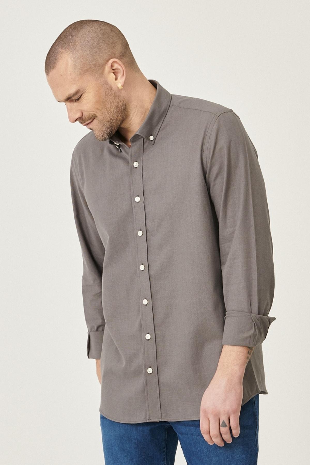 Erkek Antrasit Tailored Slim Fit Dar Kesim Düğmeli Yaka %100 Koton Gömlek