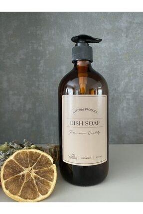 CASANATURA Amber Cam Şişe 500ml Dish Soap Kraft Etiket 0