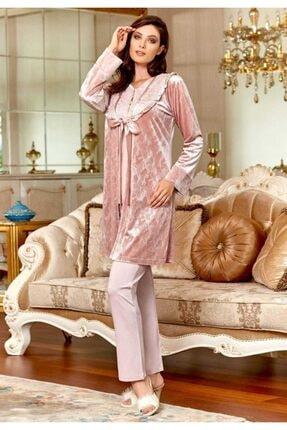 Kadın Üçlü Pudra Pijama Takımı 31-193FLZXLPUDRA