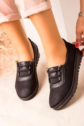 kısmetshoes Günlük Ortopedik Siyah Cilt Bayan Ayakkabı 0