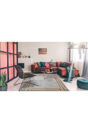 RUG PAGE Gold Modern Kaliteli Dekoratif Salon Halısı Çerçeve Elit 4