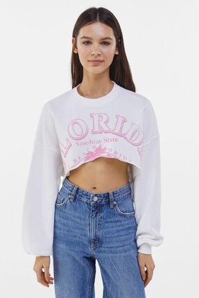 Baskılı Crop Fit Sweatshirt resmi