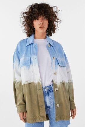 Bershka Kadın Haki Batik İnce Ceket 0