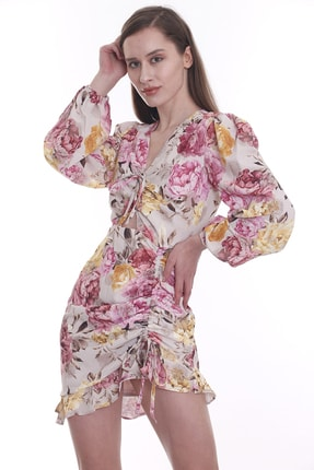CANTAUP Kadın Çiçek Desenli Elbise 0