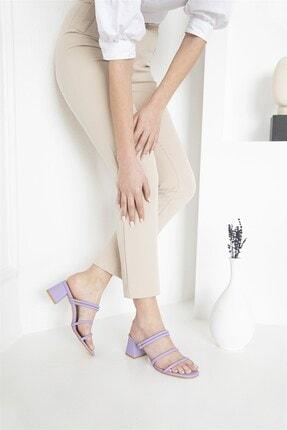 Straswans Camren KadınTopuklu Deri Sandalet Lila 4