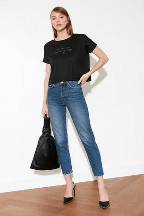 TRENDYOLMİLLA Siyah Nakışlı Fitilli Örme Bluz TWOSS21BZ0900 1