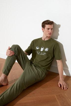 TRENDYOL MAN Haki Coffee Baskılı Örme Pijama Takımı THMAW21PT0833 0
