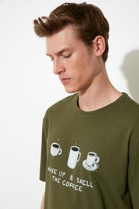TRENDYOL MAN Haki Coffee Baskılı Örme Pijama Takımı THMAW21PT0833 1