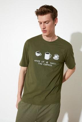 TRENDYOL MAN Haki Coffee Baskılı Örme Pijama Takımı THMAW21PT0833 3