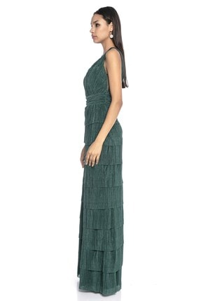 Abiye Sarayı Kadın Yeşil Bel Ve Göğüs Detaylı Kat Kat Uzun Abiye 2