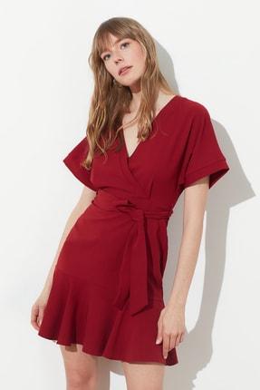 TRENDYOLMİLLA Bordo Kuşaklı Elbise TWOSS20EL0944 2