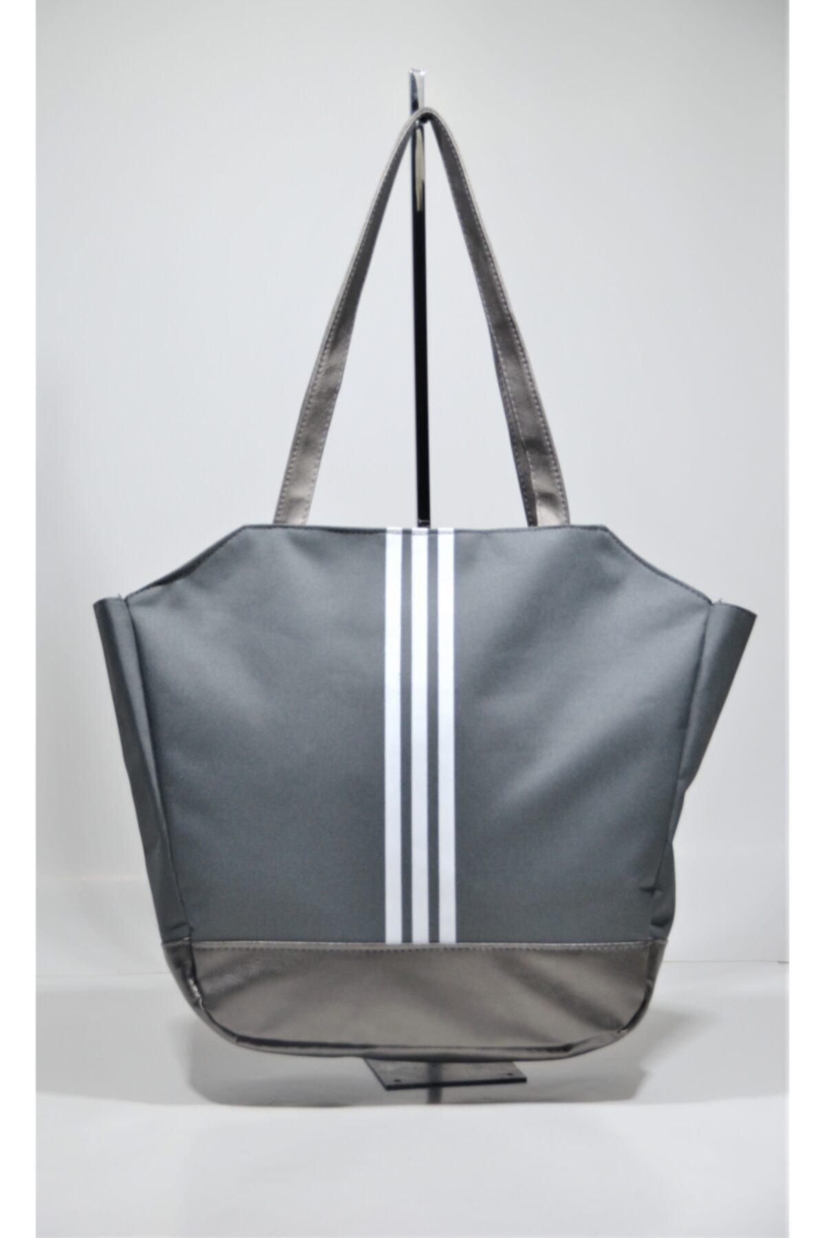 Kadın  Gümüş Spor Çantası 3 Çizgili Ksç01
