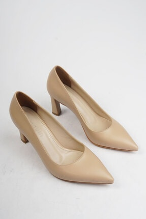 Marjin Kadın Bej Stiletto Topuklu Ayakkabı Akuna 4