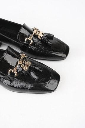 Marjin Kadın Siyah Rugan Loafer Ayakkabı Desar 2