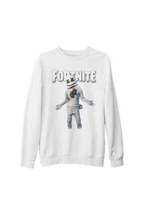Lord T-Shirt Unisex Beyaz Fortnite Marshmello Iı Kalın Sweatshirt 0