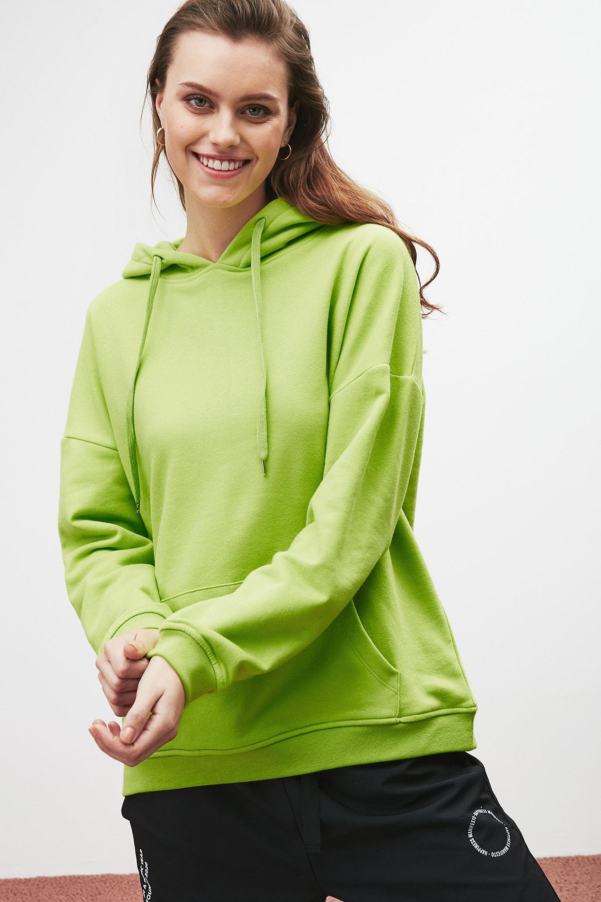GRIMELANGE JANE Kadın Fıstık Yeşili Basic Kapüşonlu Sweatshirt 0