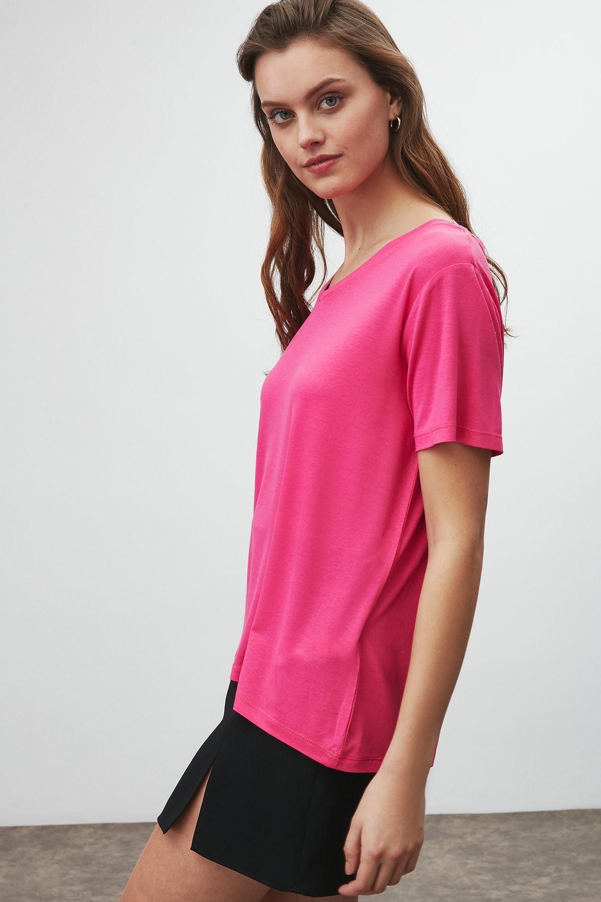 GRIMELANGE Vıolet Kadın Pembe Comfort Fit V Yaka Kısa Kollu T-shirt 2