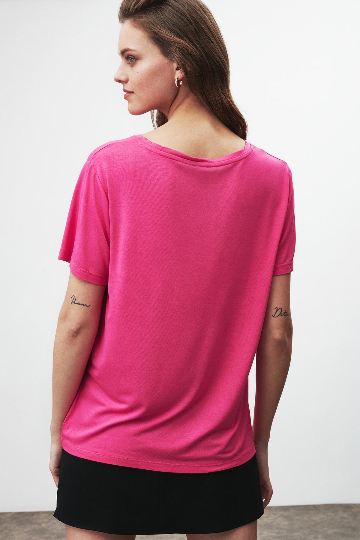 GRIMELANGE Vıolet Kadın Pembe Comfort Fit V Yaka Kısa Kollu T-shirt 3