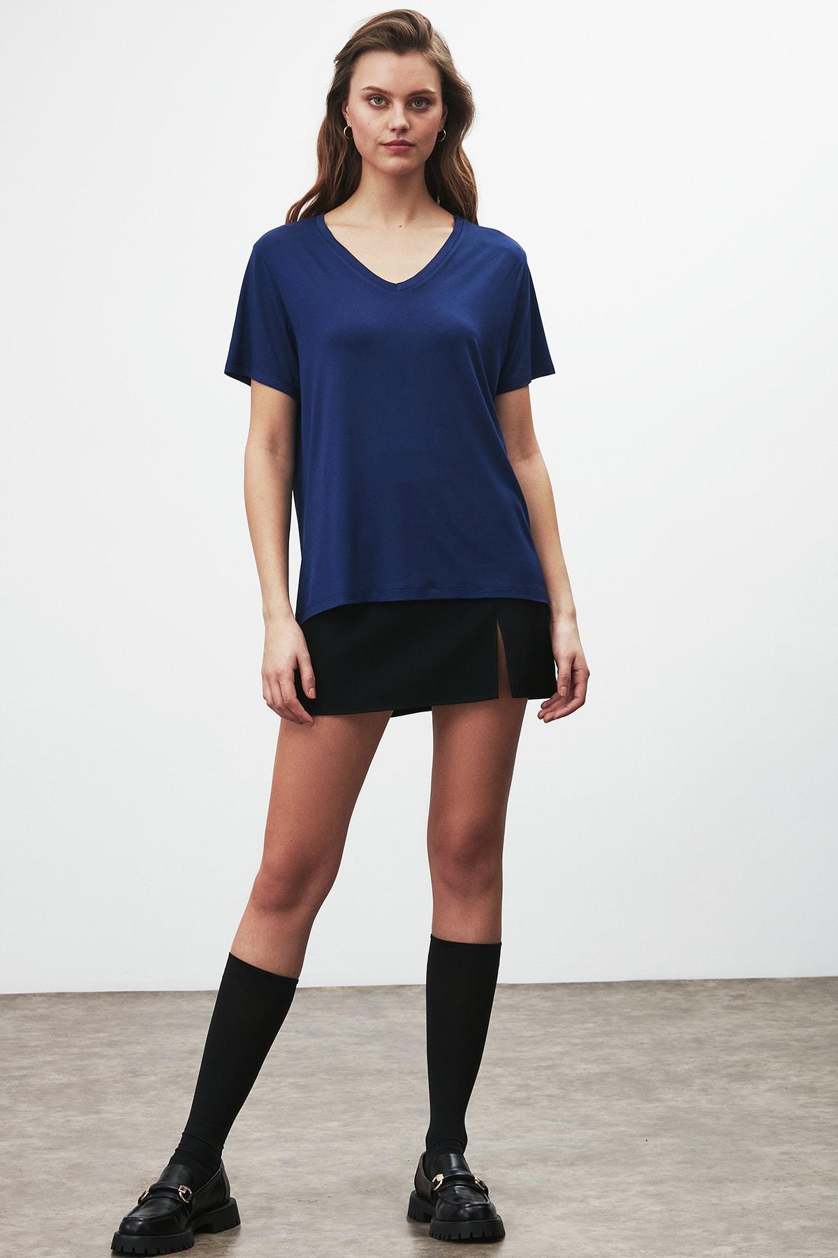 GRIMELANGE Vıolet Kadın Lacivert Comfort Fit V Yaka Kısa Kollu T-shirt 2