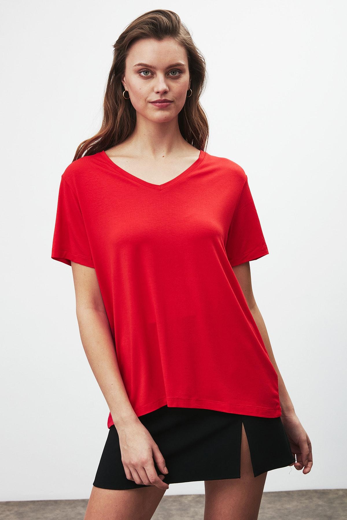 GRIMELANGE Vıolet Kadın Kırmızı Comfort Fit V Yaka Kısa Kollu T-shirt 0
