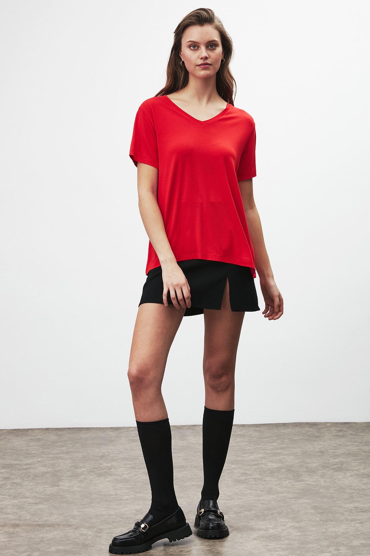 GRIMELANGE Vıolet Kadın Kırmızı Comfort Fit V Yaka Kısa Kollu T-shirt 2