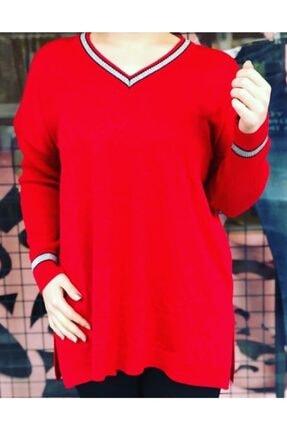 Kadın Kırmızı Simli V Yaka Triko Bluz lilu00456