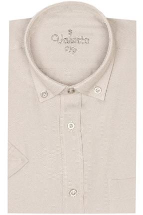 Picture of Erkek Bej Rengi Büyük Beden Kısa Kollu Oxfort Yaka Düğmeli Erkek Gömlek